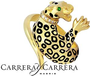 Кольцо Леопард Carrera y Carrera из золота с бриллиантами
