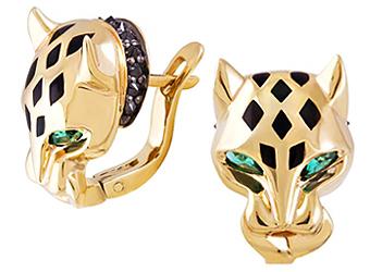 Золотые серьги Cartier Пантера