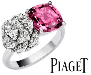 Кольцо с розой Piaget из белого золота со шпинелью бриллиантами