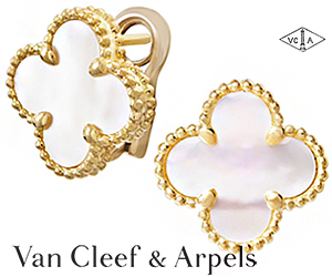 Серьги-четырехлистники Van Cleef & Arpels из золота с перламутром